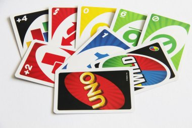 Card game Uno top view on playing moment