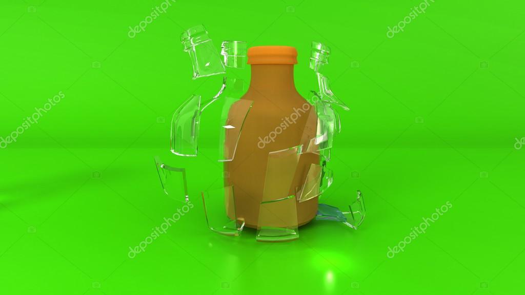 Immagini Verde Bottiglia Bottiglia Su Sfondo Verde Foto Stock