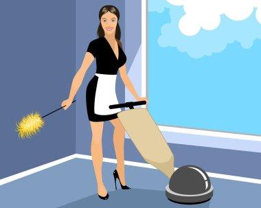 Housekeeper cleans room