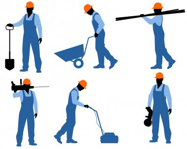 Six workers silhouettes