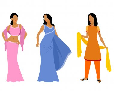 Vector illustration of a three indian women in dress stock vector