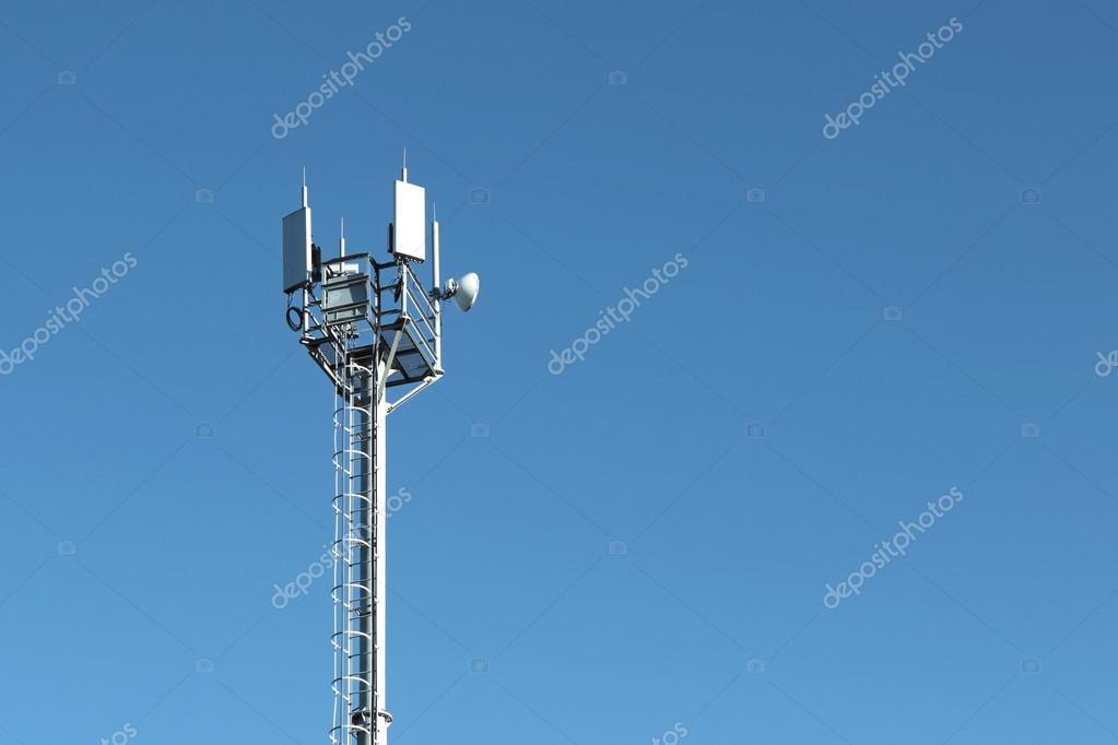 cellular tower on the blue sky background