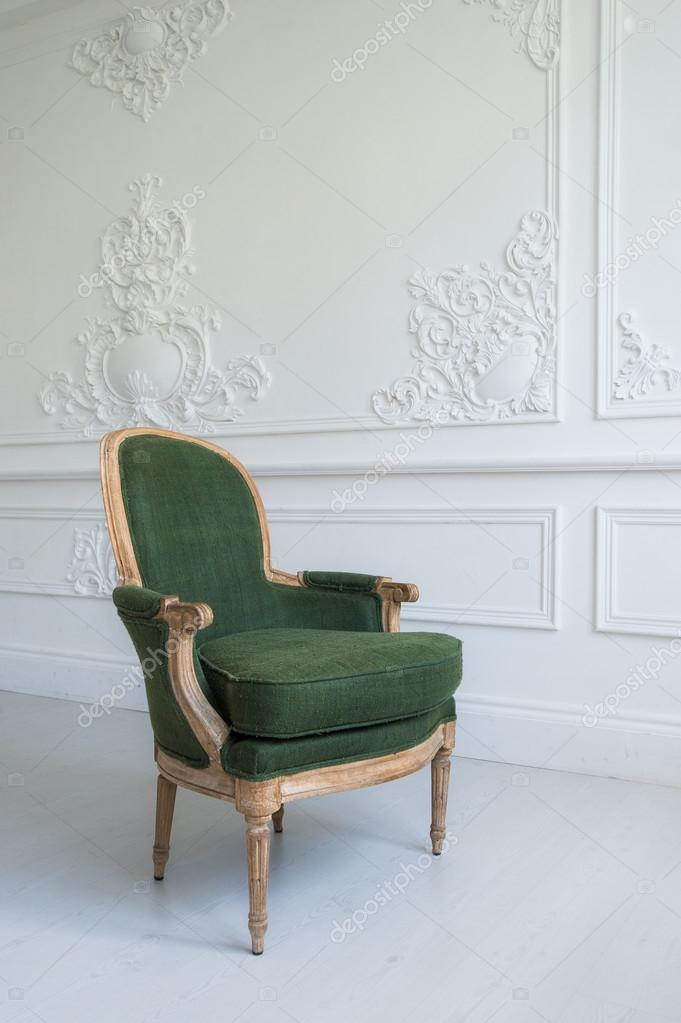 Elegant Green Armchair In Luxury Clean Bright White Interior U2014 Stock Photo