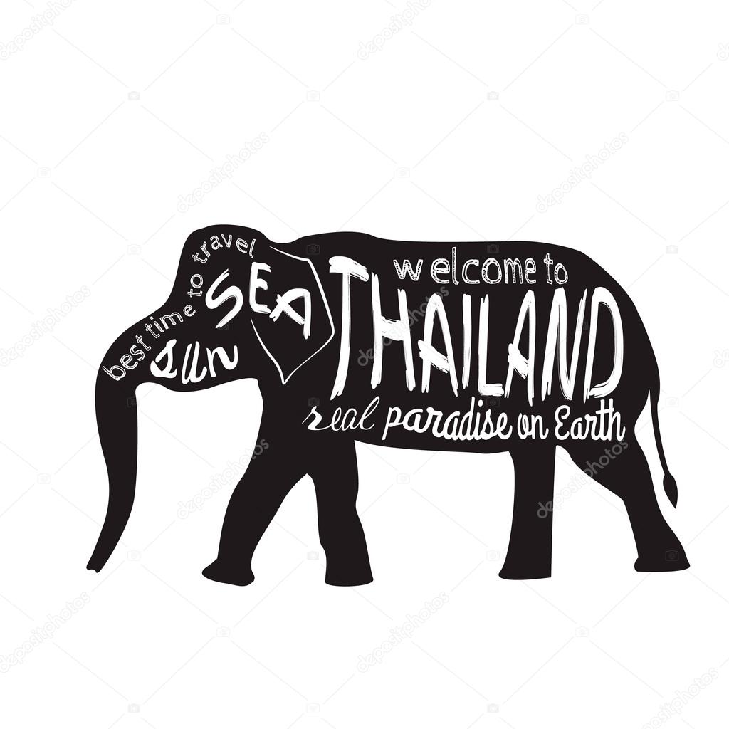 thailand vector typography illustration silhouette of an asian elephant with inscriptions presented on a white