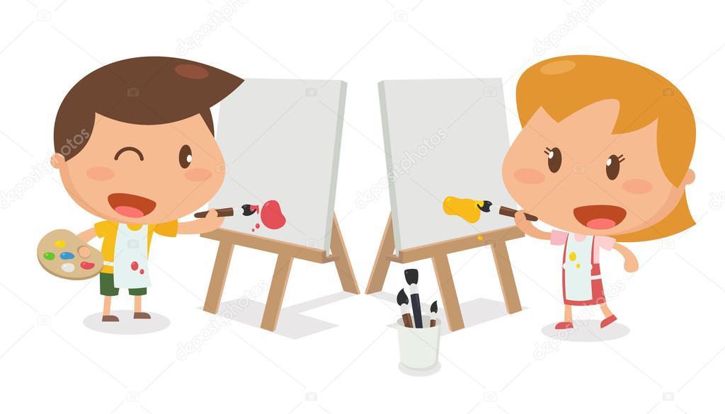 Actividad de los niños. Niños pintando — Foto de stock © yutthaphan ...