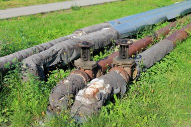 Old pipes of heating in a grass on the street