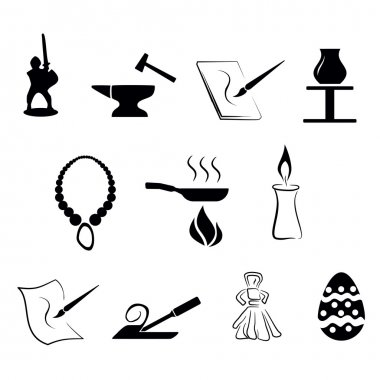 Set of traditional craftsmanship arts icons