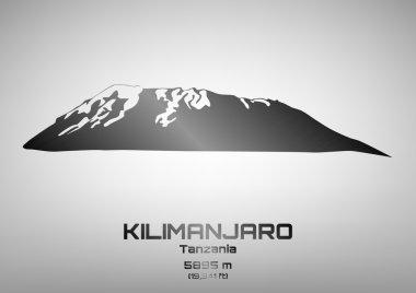 Outline vector illustration of steel Mt. Kilimanjaro