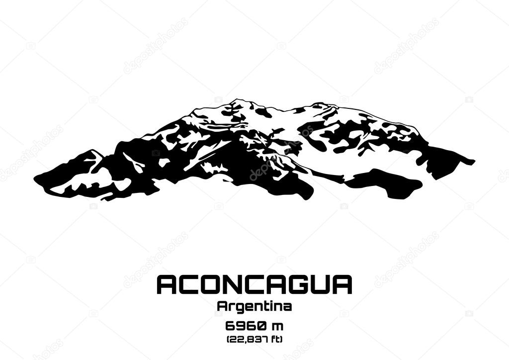Outline vector illustration of Mt. Aconcagua