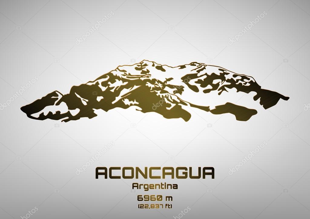 Outline vector illustration of bronze Mt. Aconcagua