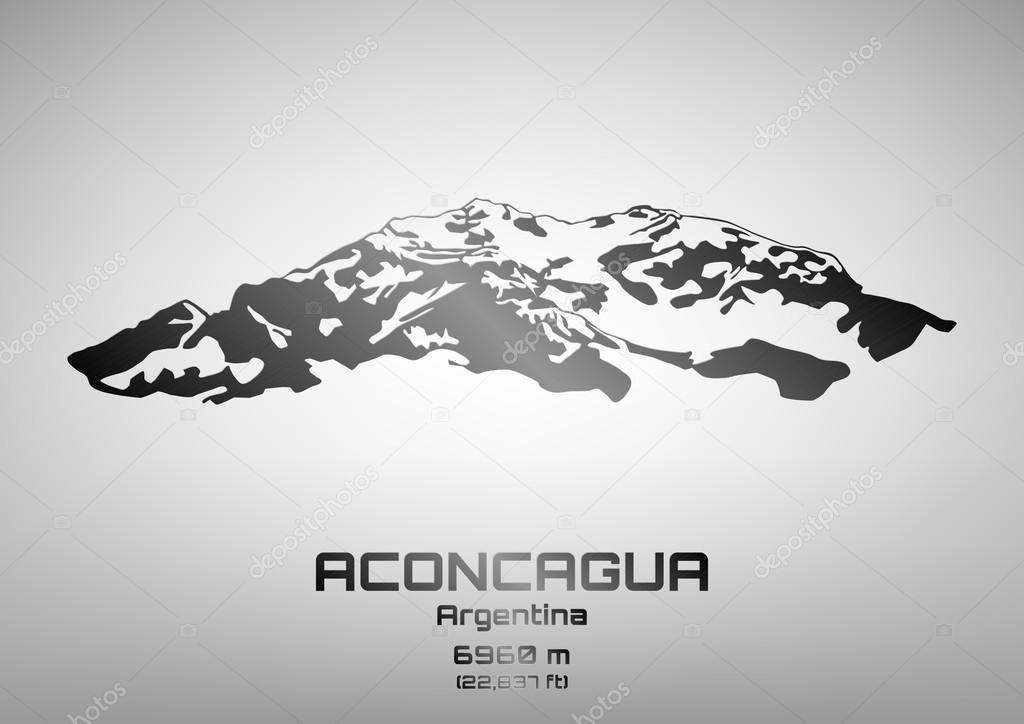 Outline vector illustration of steel Mt. Aconcagua
