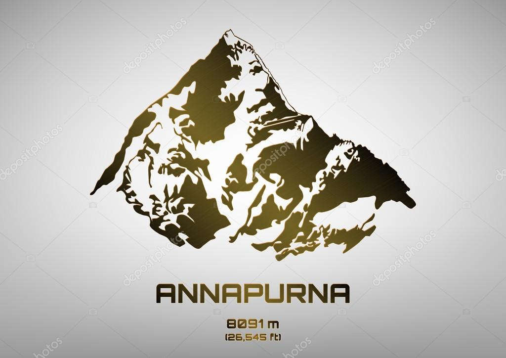 Outline vector illustration of bronze Mt. Annapurna