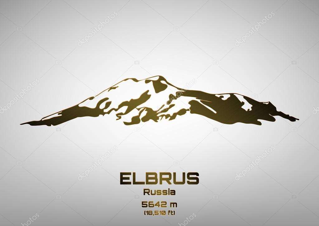 Outline vector illustration of bronze Mt. Elbrus