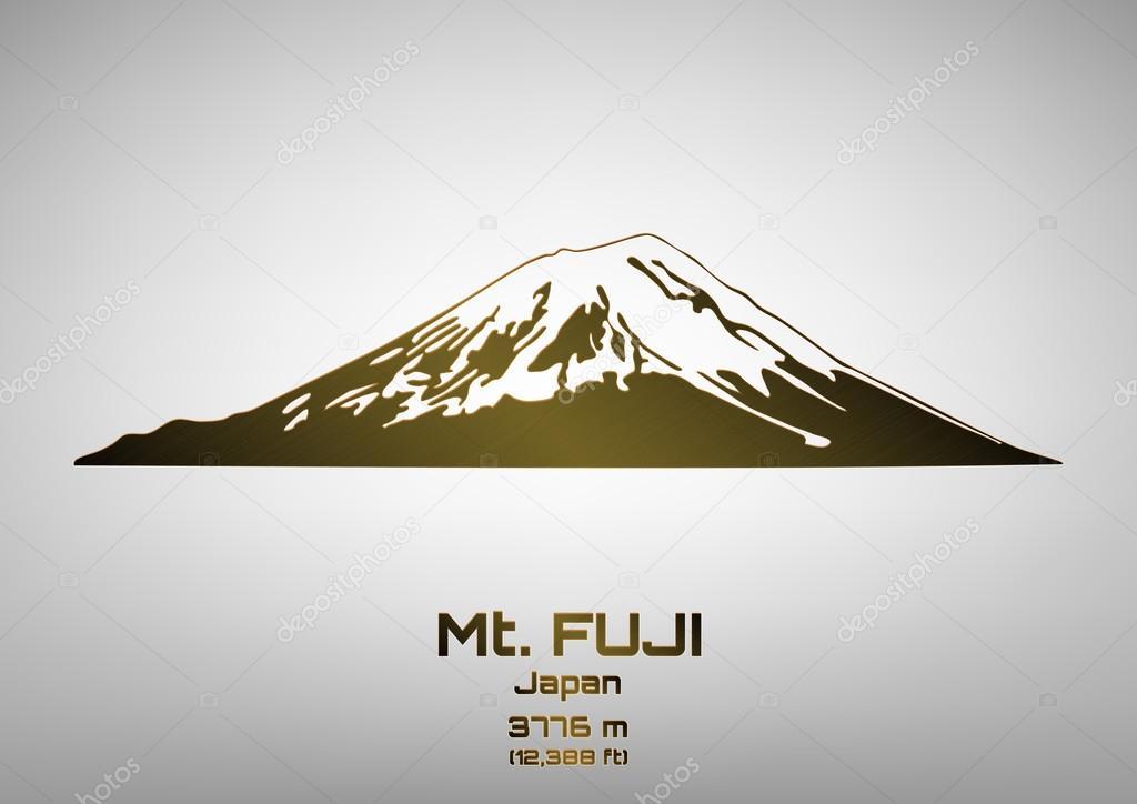 Outline vector illustration of bronze Mt. Fuji
