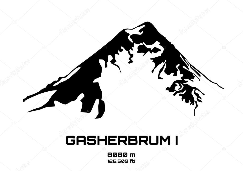 Outline vector illustration of Mt. Gasherbrum I