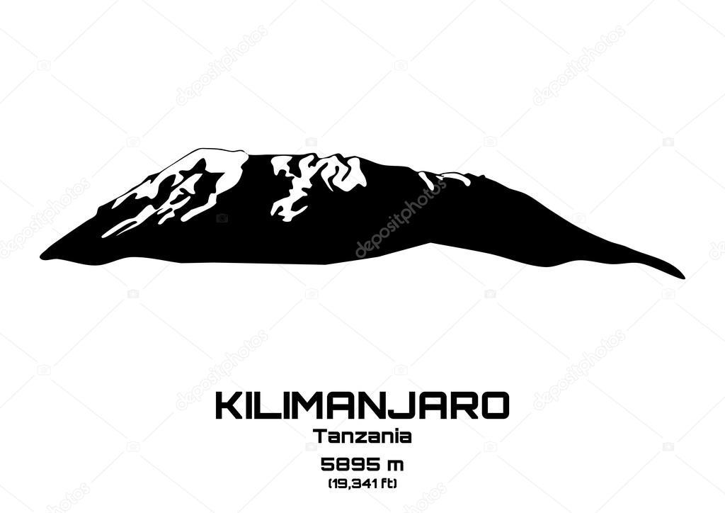 Outline vector illustration of Mt. Kilimanjaro