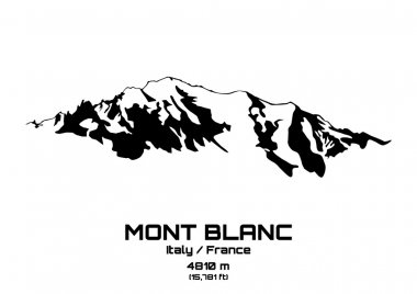 Outline vector illustration of Mont Blanc