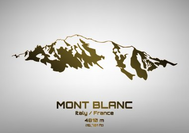 Outline vector illustration of bronze Mont Blanc