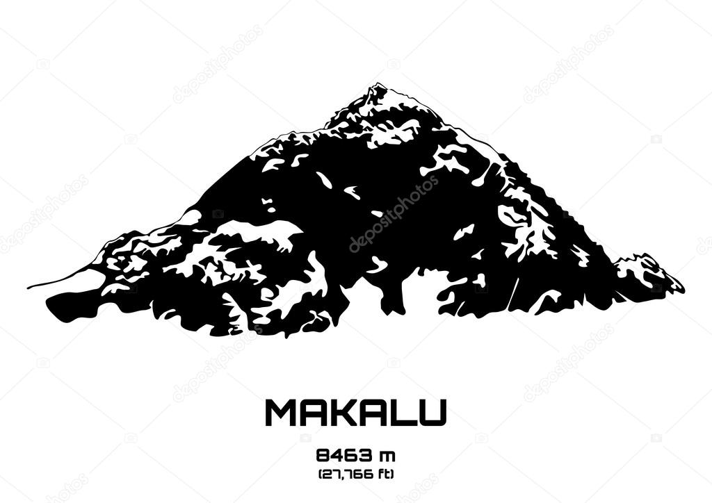 Outline vector illustration of Mt. Makalu