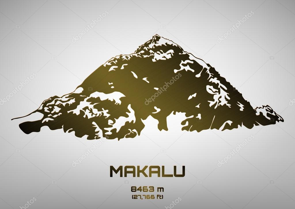 Outline vector illustration of bronze Mt. Makalu