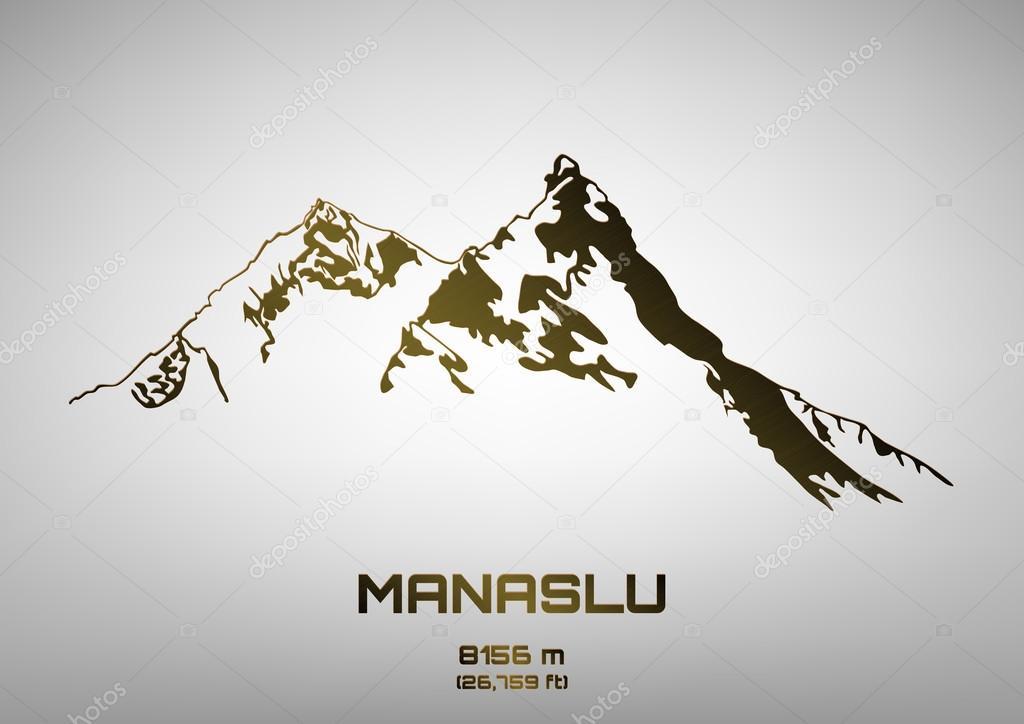 Outline vector illustration of bronze Mt. Manaslu