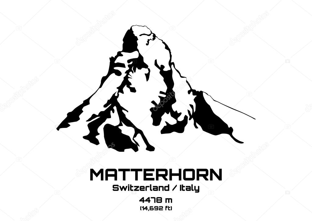 Outline vector illustration of Mt. Matterhorn