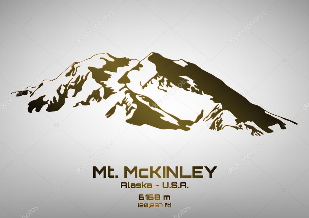 Outline vector illustration of bronze Mt. McKinley