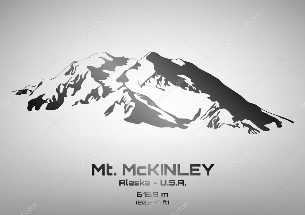 Outline vector illustration of steel Mt. McKinley