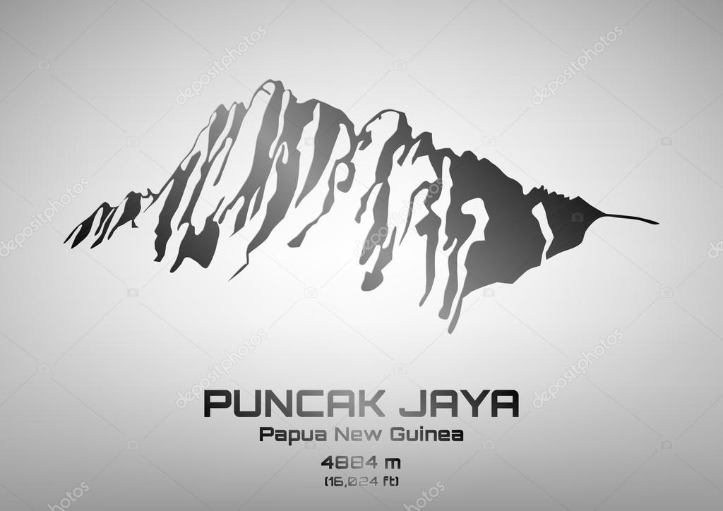 Outline vector illustration of steel Mt. Puncak Jaya