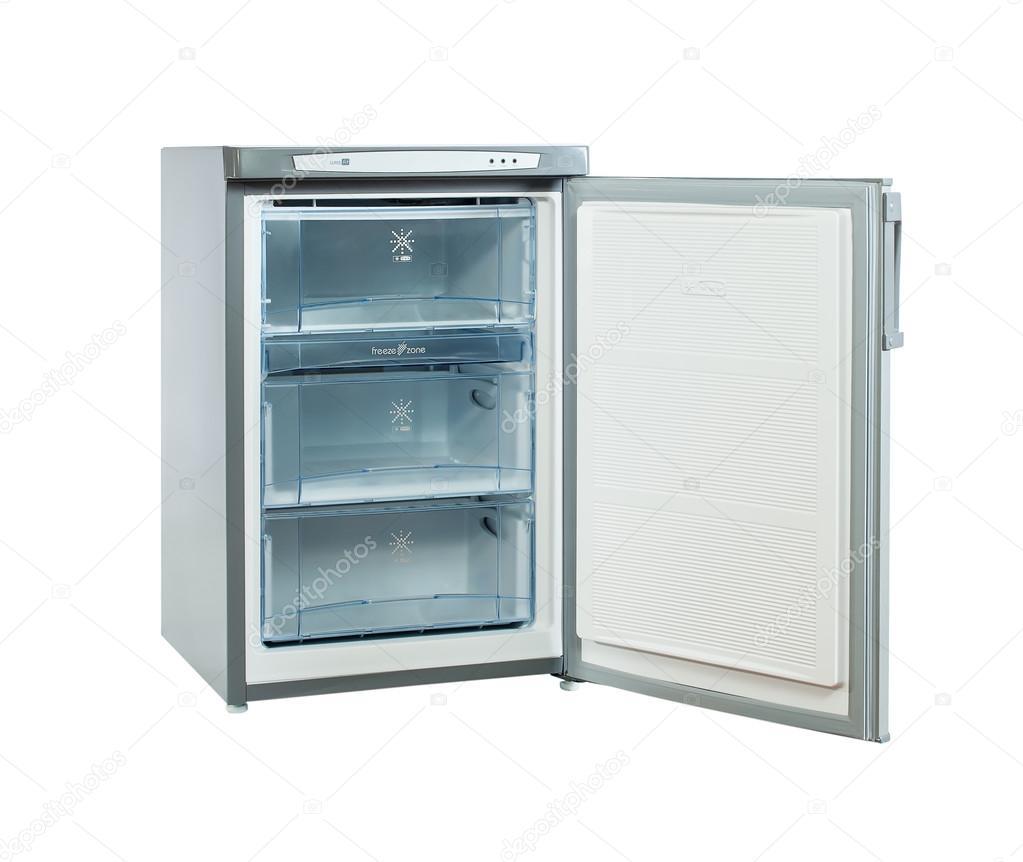 frigorifero in acciaio inox piccolo sparo studio isolato su bianco ...