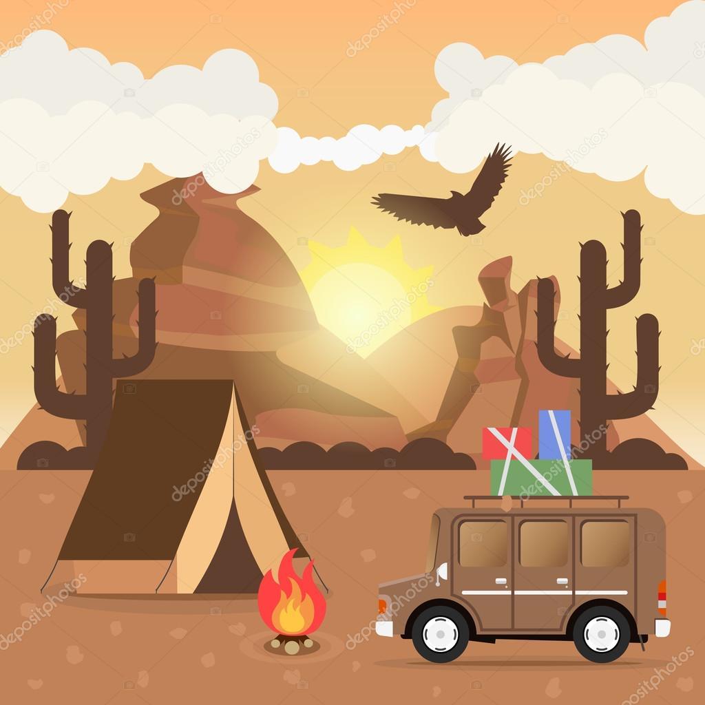 Travel car campsite place landscape. Mountains, desert, cactus, eagle and bonfire. Vector illustration in flat style.