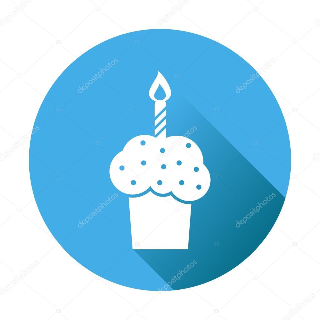 Birthday Cake Flat Icon Fresh Pie Muffin On Blue Round Background Stockillustration