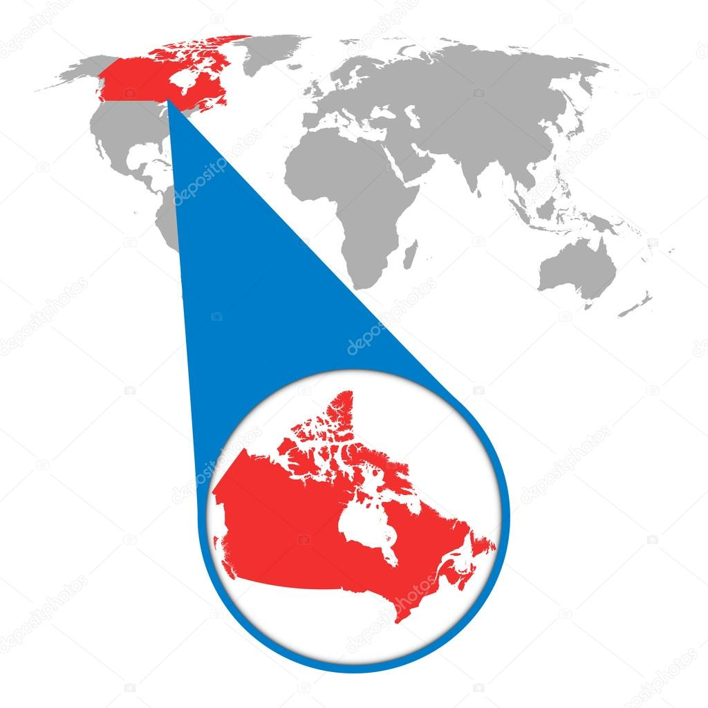 Map Zoom.World Map With Zoom On Canada Map In Loupe Vector Illustration In