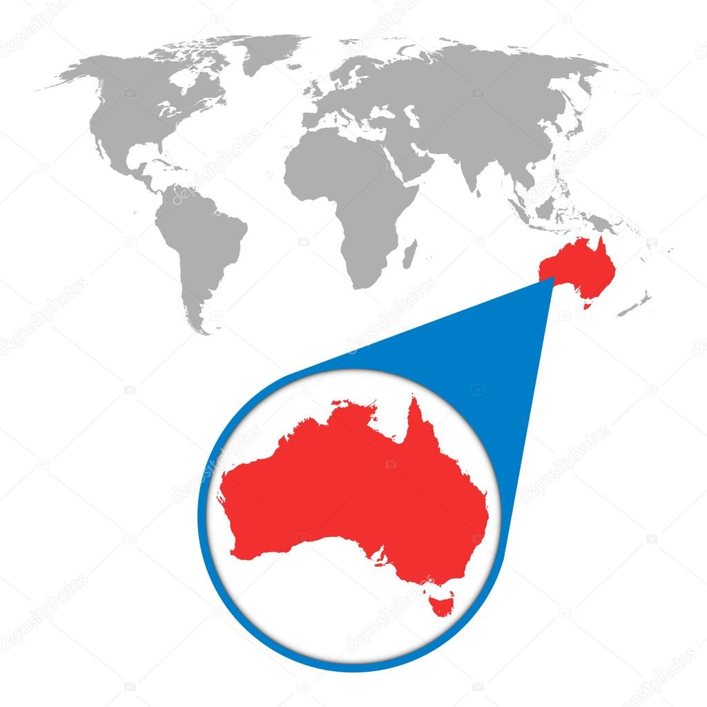 World map with zoom on Australia. Map in loupe. Vector illustration on bright map of the world, titled map of the world, pdf map of the world, tectonic map of the world, interactive map of the world, google map of the world, zoom map of the world, rotatable map of the world, glacial map of the world, searchable map of the world,