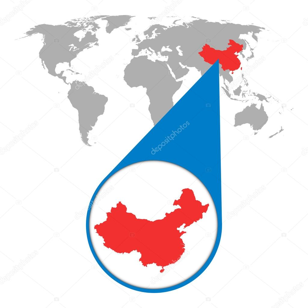 World map with zoom on China. Map in loupe. Vector illustration in on