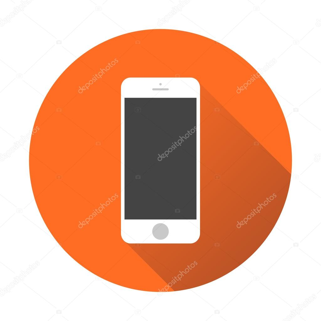 cone do smartphone ilustra o em vetor em fundo laranja com sombra telefone no estilo iphone. Black Bedroom Furniture Sets. Home Design Ideas