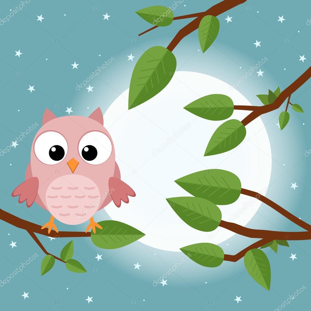 dd35f039289938 Kolorowe drzewa z sowa. Ptaków kreskówka księżyc Las. Ilustracja wektorowa  płaskie– ilustracja stockowa
