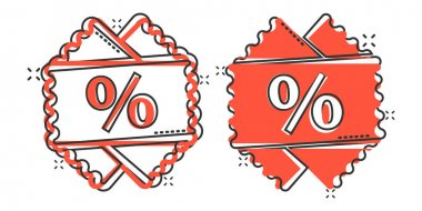 Price coupon icon in comic style. Discount tag cartoon sign vector illustration on white isolated background. Sale sticker splash effect business concept. icon