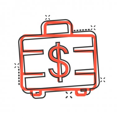 Money briefcase icon in comic style. Cash box cartoon vector illustration on white isolated background. Finance splash effect business concept. icon