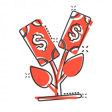 Growth profit icon in comic style. Flower with money cartoon vector illustration on white isolated background. Increase splash effect business concept. icon