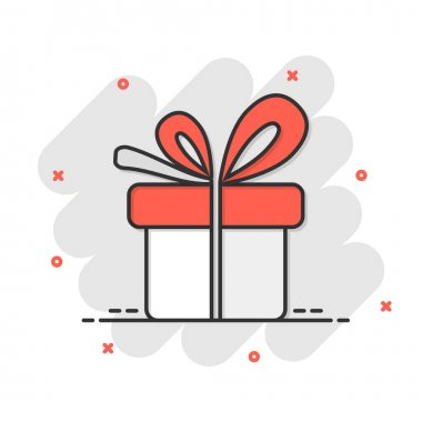 Gift box icon in comic style. Present package vector cartoon illustration on white isolated background. Surprise business concept splash effect. icon