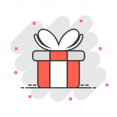 Gift box icon in comic style. Present package cartoon vector illustration on white isolated background. Surprise splash effect business concept. icon