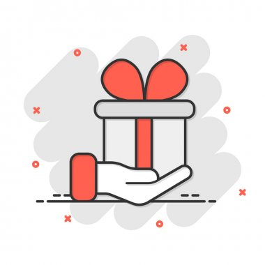 Gift box icon in comic style. Present on hand cartoon vector illustration on white isolated background. Surprise splash effect business concept. icon