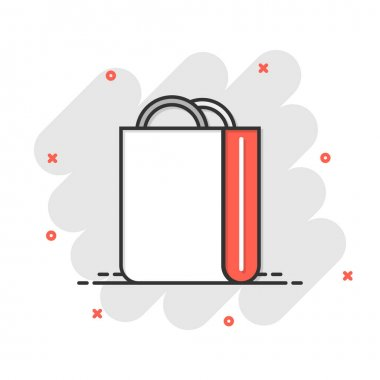 Shopping bag icon in comic style. Handbag cartoon sign vector illustration on white isolated background. Package splash effect business concept. icon