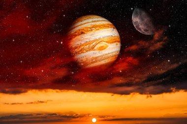 Jupiter in the cloud landscape. New sunset