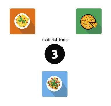 Иконки еда в стиле материал дизайн с тенью