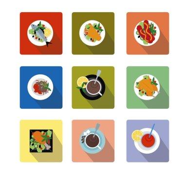 Иконки еда в стиле материал дизайн с тенью. Food icons material design (flat)