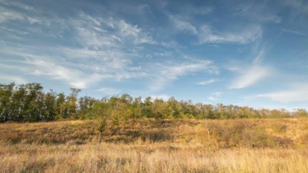 Oroszország, TimeLapse. Kialakulását és mozgását a felhők felett ősszel végtelen zöld terület fű a hatalmas sztyeppek a Don.