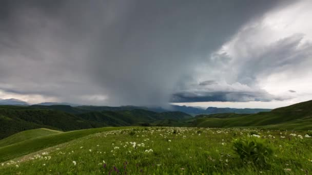 The formation of clouds over alpine meadows, storm clouds.