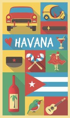Retro Drawing of Cuba Havana Cultural Symbols on a Poster and Postcard